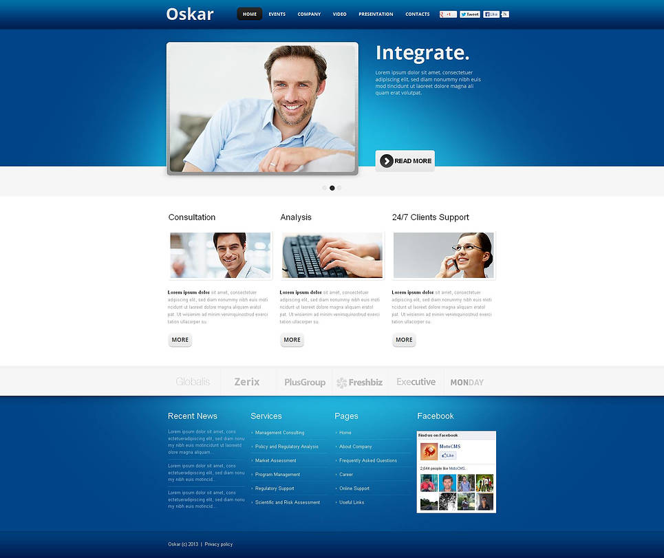 Blue and White Business Template for Corporate Websites - image