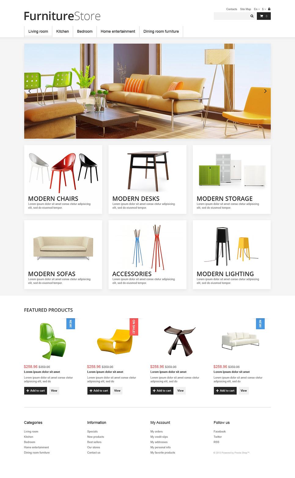 Refreshing Furniture Store PrestaShop Theme