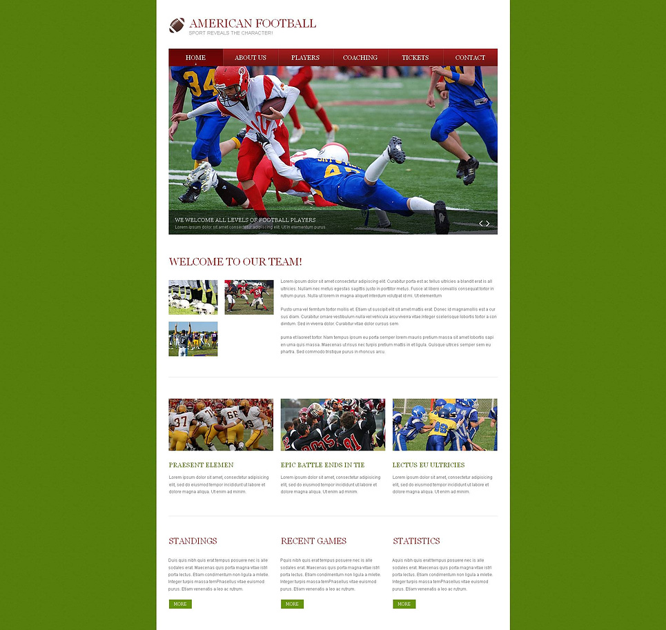 American Football Website Template with Green Background - image