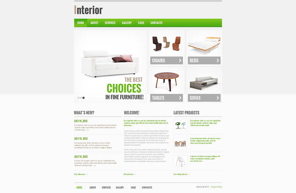Interior and Furniture Website Template with CMS - image