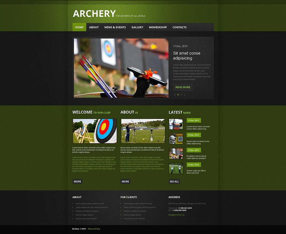 Green Archery Template with Black Menu Bar - image