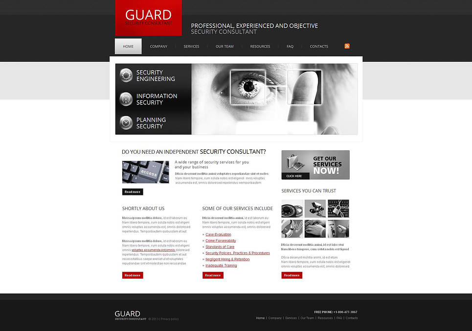 Security Services Website Template with jQuery Image Gallery - image