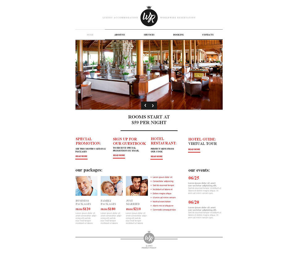 White Website Template with CMS for Hotels - image