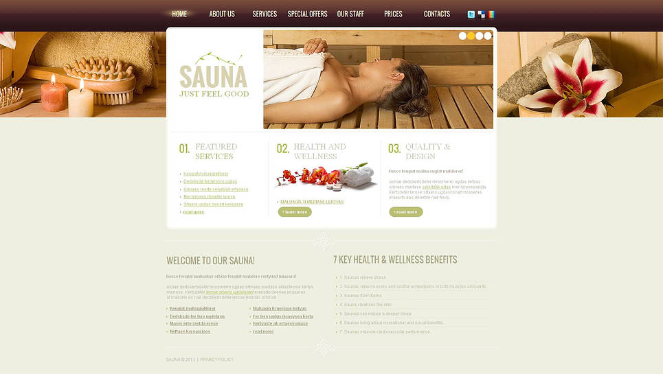 Sauna Website Template with Header Image Slider - image
