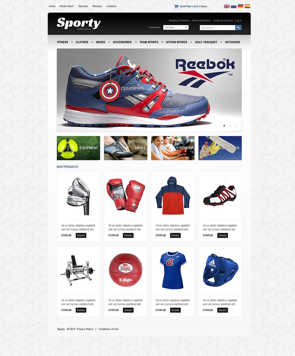 Sporty OsCommerce Template New Screenshots BIG