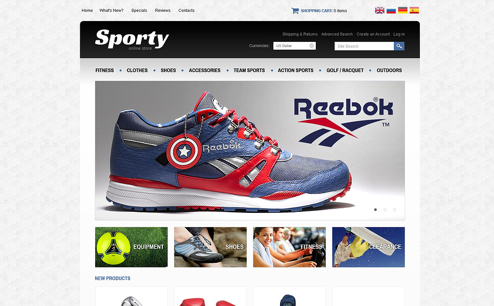 Sporty OsCommerce Template New Screenshots BIG