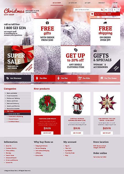 Christmas gift shop - Best Magento Holiday Theme