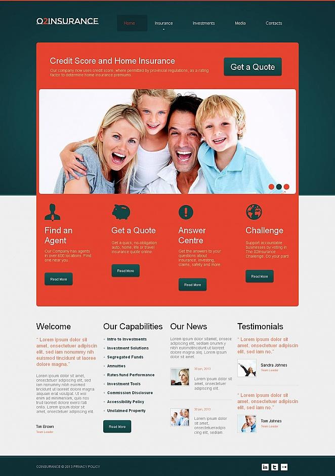 Insurance Website Template with Dark Header - image