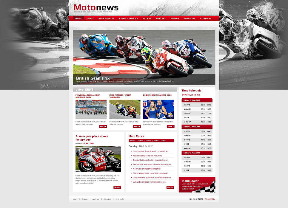 Motorcycle Racing Website Template with Rich Navigation Bar - image