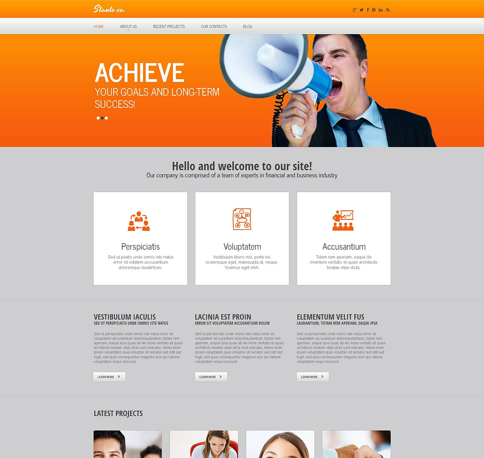 Financial Advisor Web Template with Orange Header - image