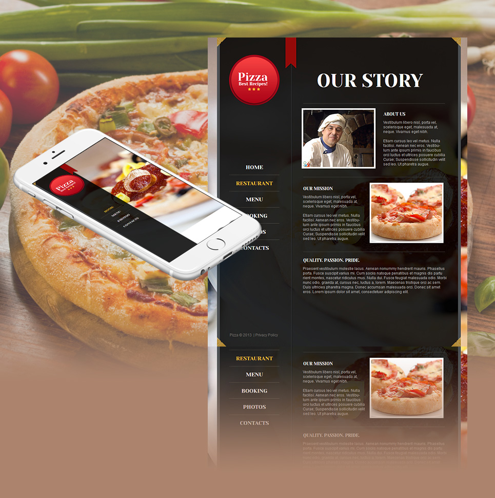 Pizza Website Template with Mouthwatering Background Pictures - image