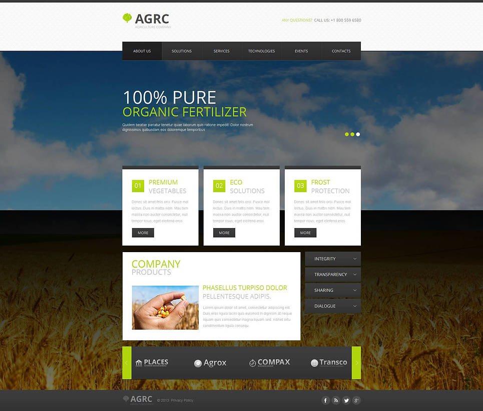 Agriculture Template with Nature Landscape Image on the Background - image