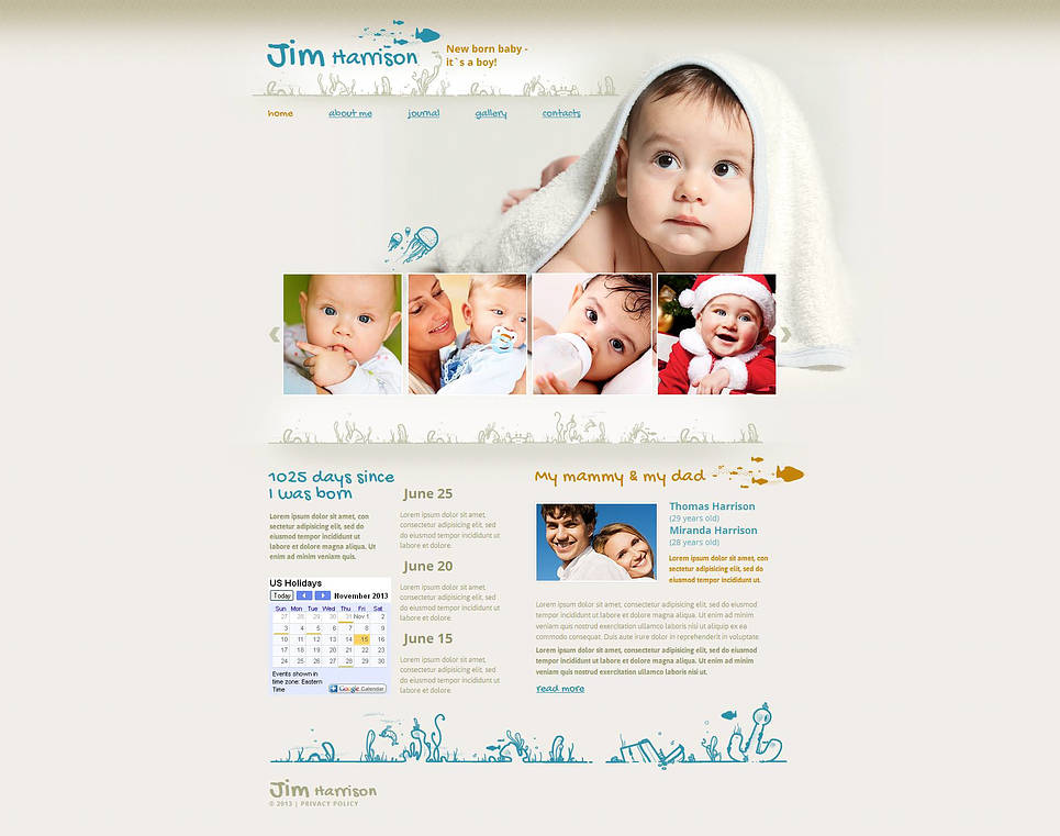 Newborn Baby Website Template with Creative Design and Photo Gallery - image