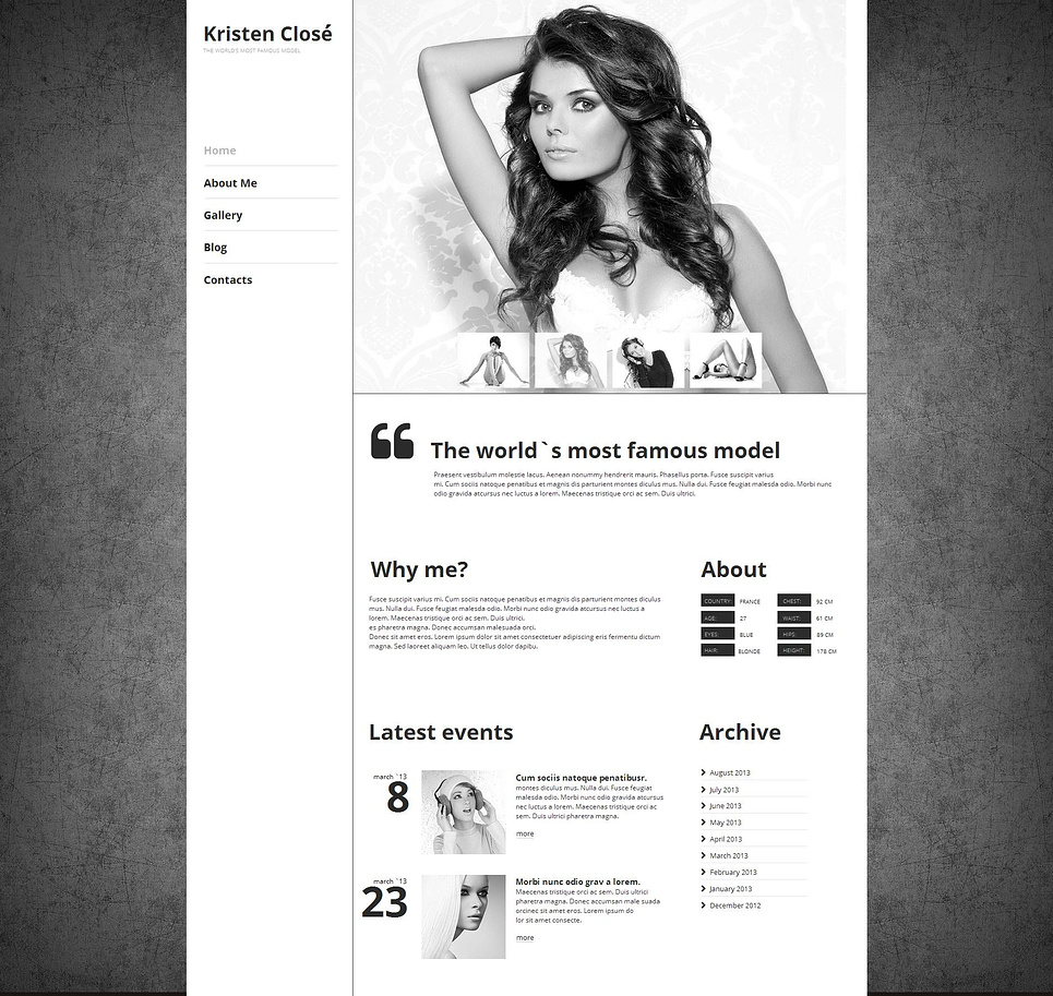 Model's Personal Website Template with a Photo Gallery - image
