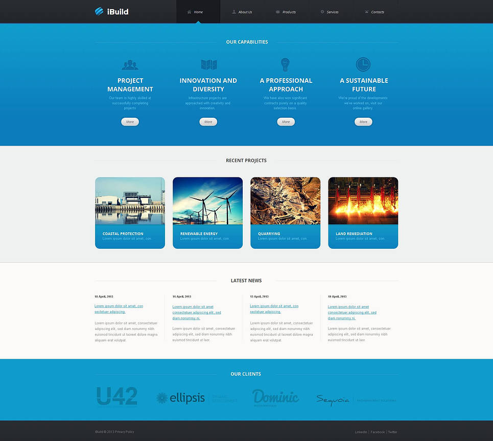 Project Management Website Template with Large Images - image
