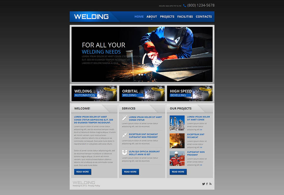 Gray Website Template with jQuery Image Gallery for Welding Services - image