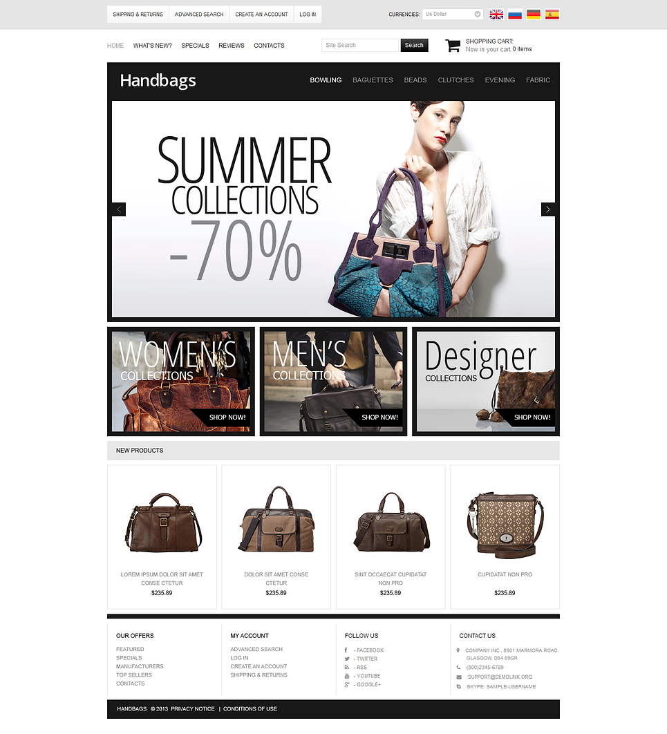 Simple HandBags OsCommerce Template with Fair Background