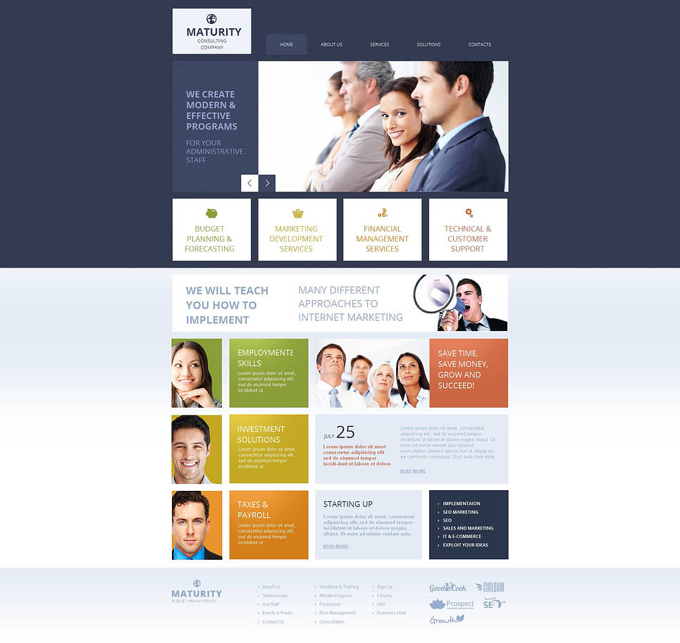 Consulting Company Website Template Designed in Blue Shades - image