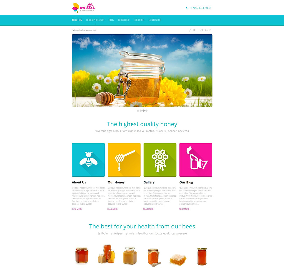 Honey Website Template with Products Catalog - image
