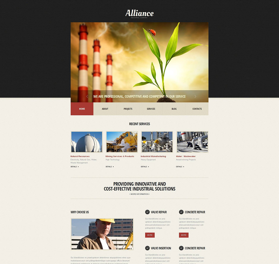 Industrial Web Template with Google Calendar - image