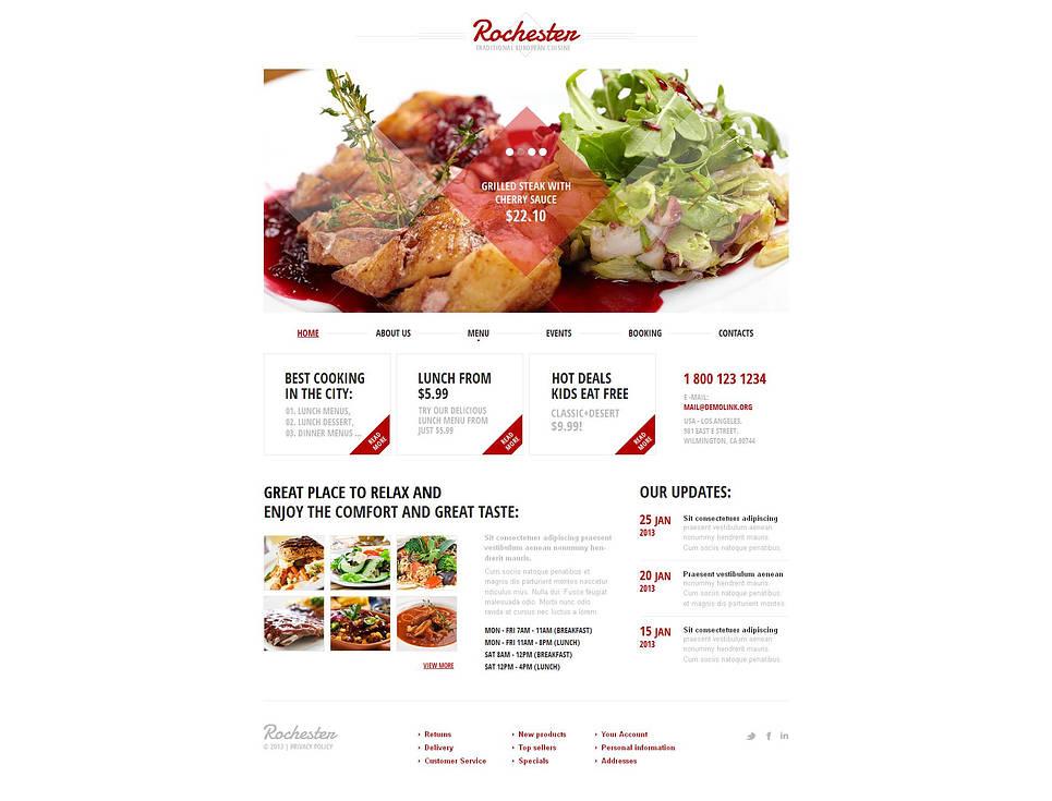 European Cuisine Website Template with Creative Image Slider - image