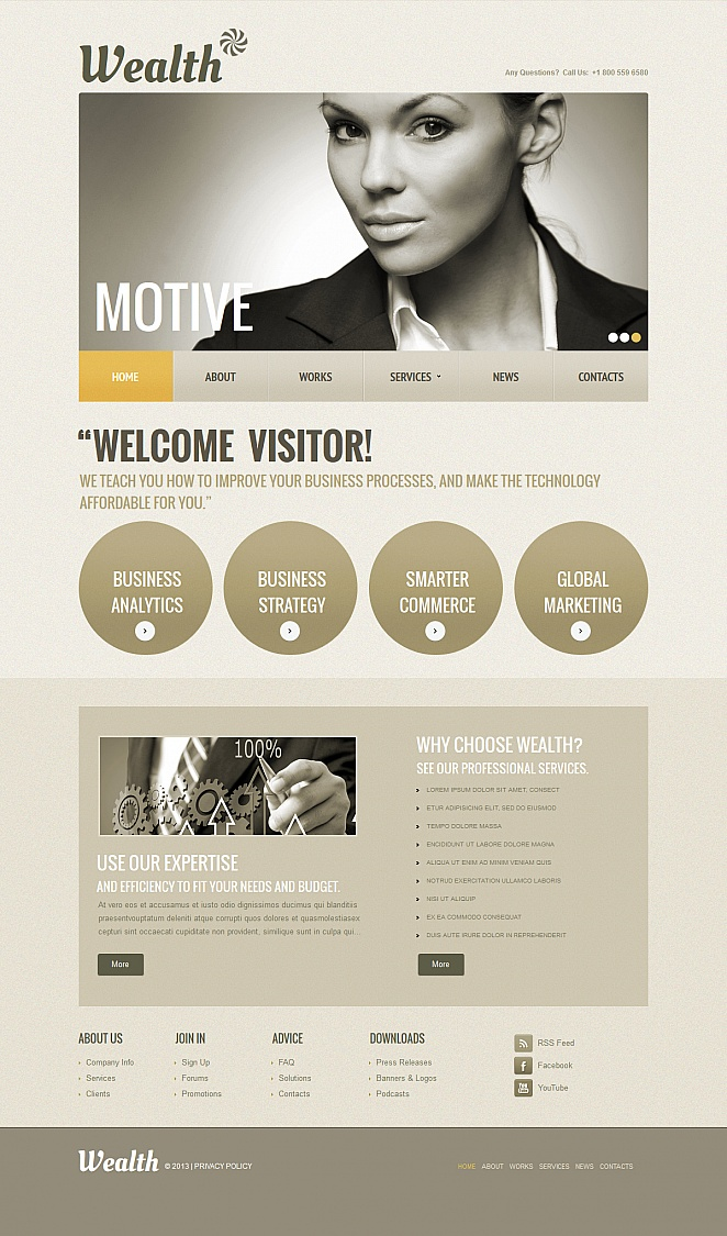 Business Website Template with Circles for Content - image