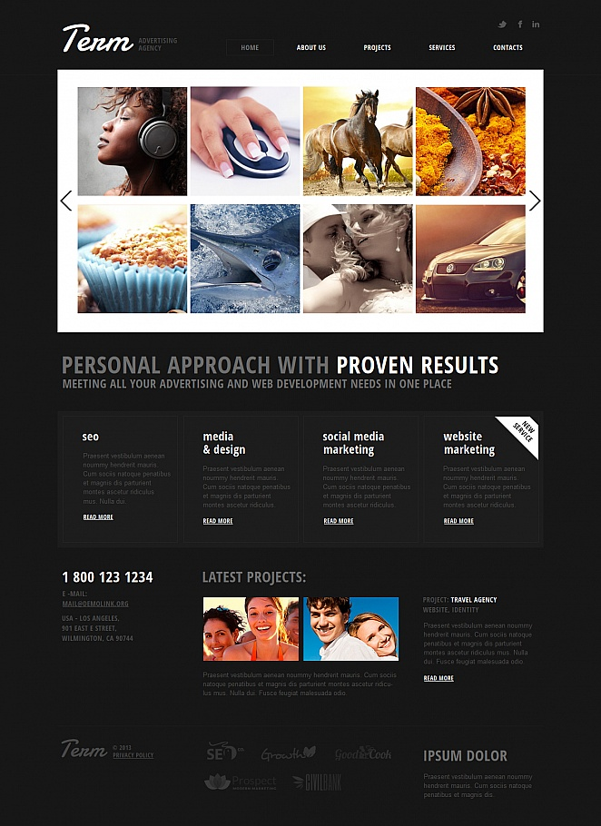 Black Advertising Template with Photo Gallery on White Background - image