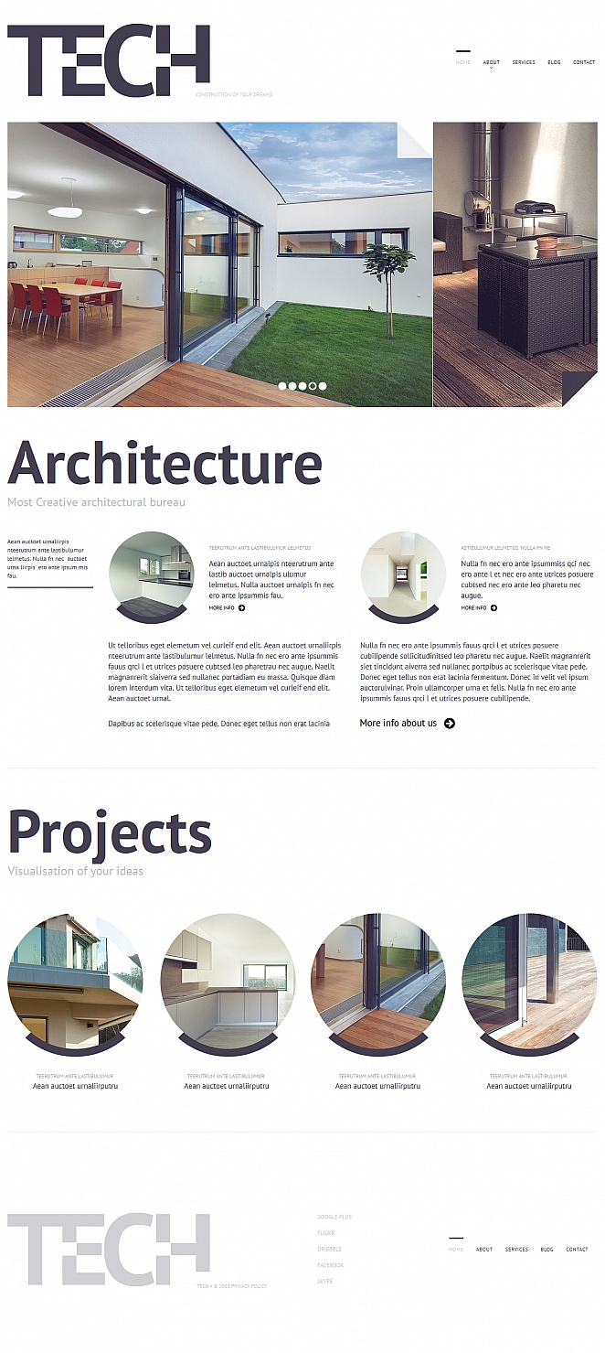 Architecture Website Template with White Space and Circular Elements - image