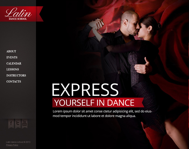 Latin Dance School Website Template in Red and Black Colors - image