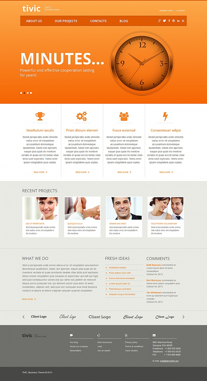 Neutral Business Template with Bright Orange Header - image