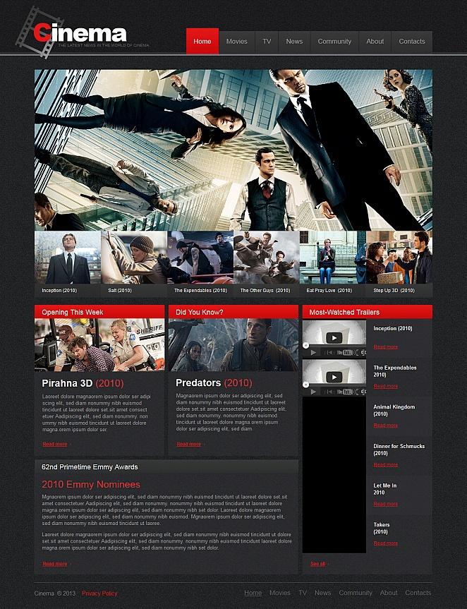 Szablon strony kino-nowin ze zdjęciami i filmami - image
