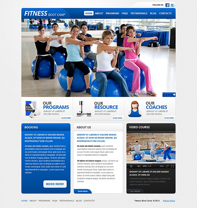 Fitness Web Template in White and Blue Tones - image