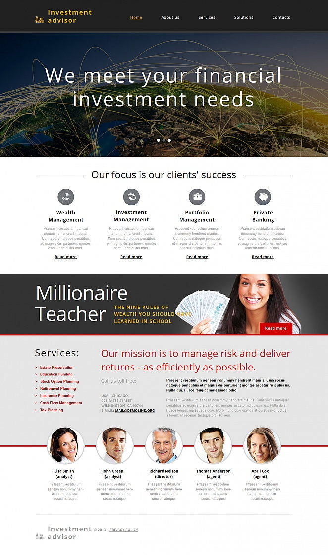 Investment Planning Web Template with Content-Rich Layout - image