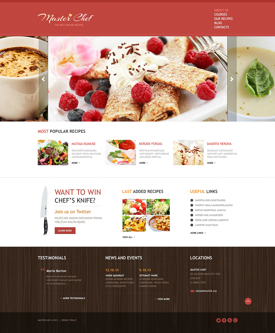 Animated Sliding Cooking Responsive Joomla Template