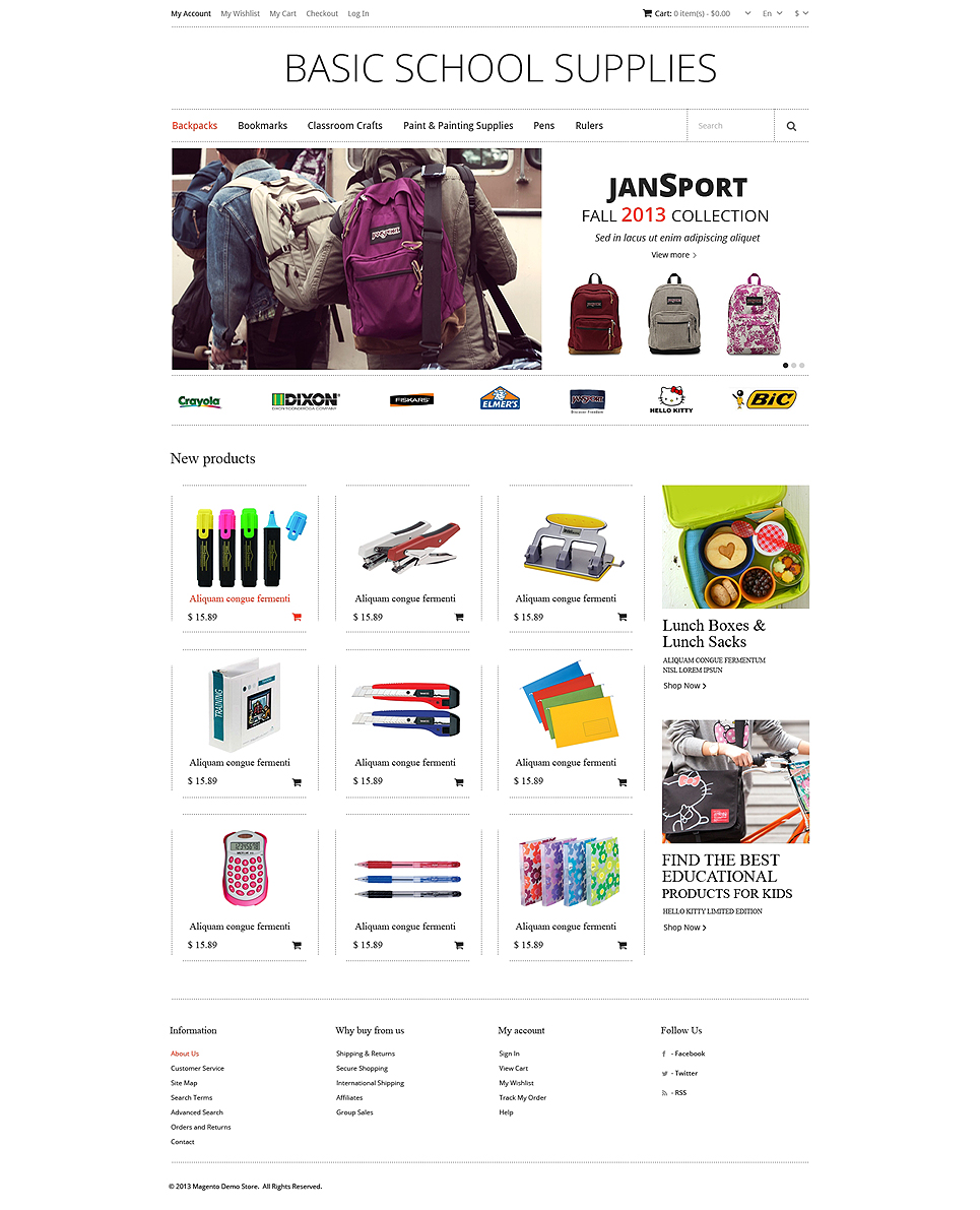 The Inventive Educational School Supplies Magento Theme