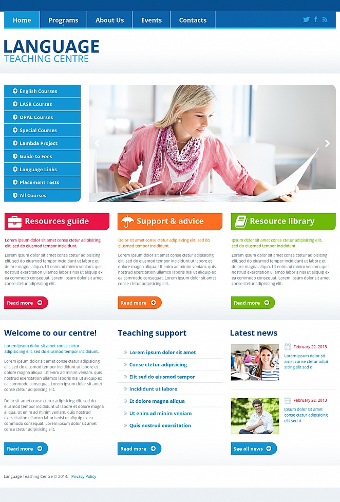 Language Teaching Center Website Template with CMS - image