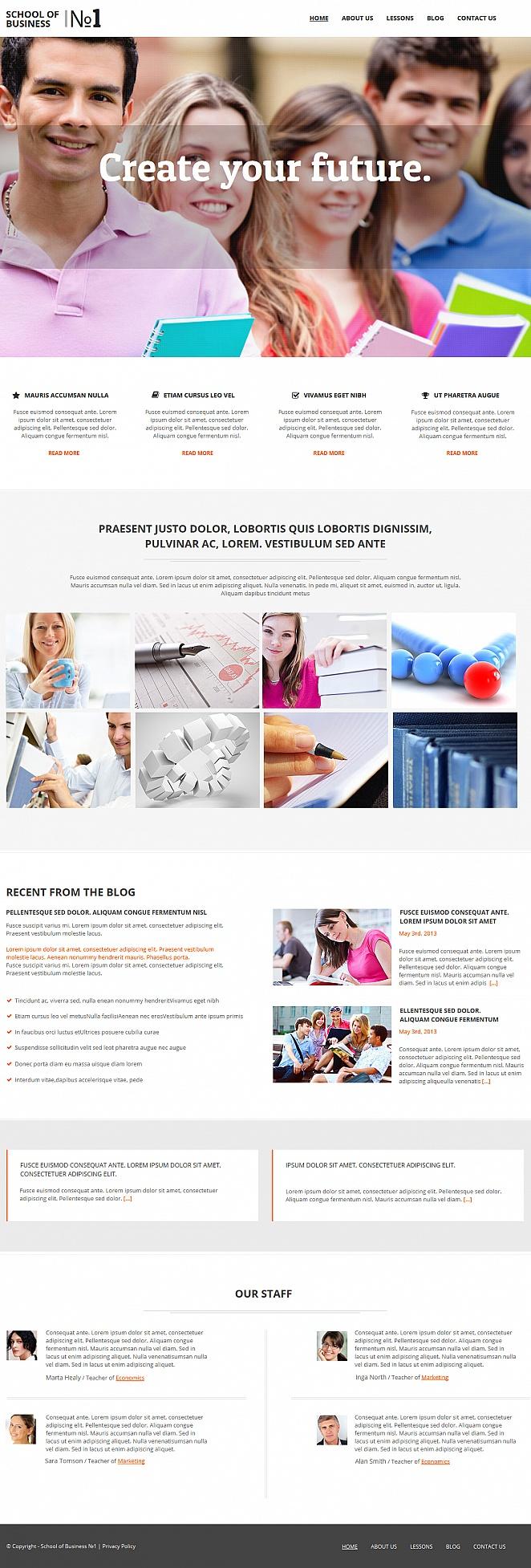 Business School Website Template with Drop-Down Menu - image