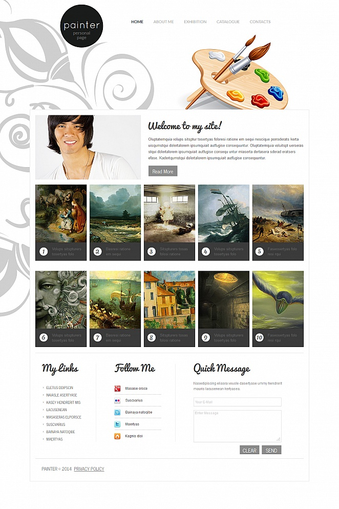 Painter Website Template with Grid Gallery - image