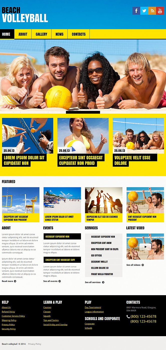 Beach Volleyball Template with Sunny Yellow Navigation Menu - image