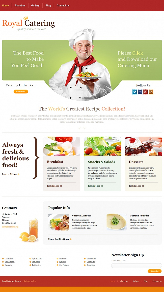 Catering Services Website Template with Red Background - image