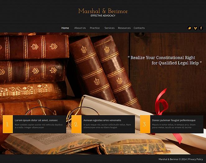 Website mit einem schönen Hintergrundbild zum Thema Anwaltschaft