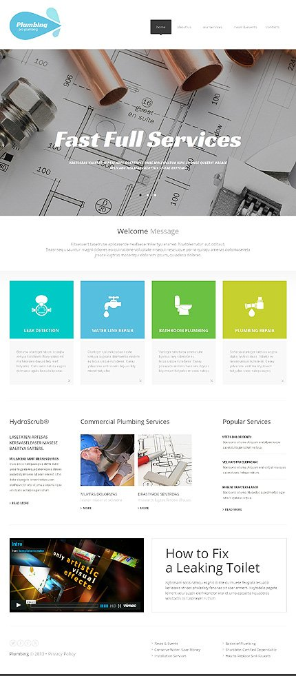 White Plumbing Website Template By Delta Plumbing Responsive - How to design a website template