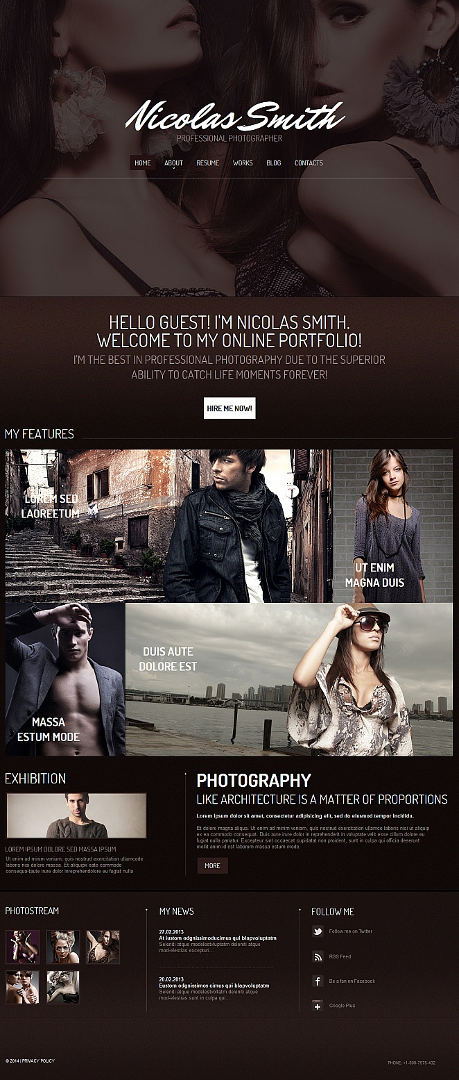 Chocolate Brown Website Template for Professional Photographers - image