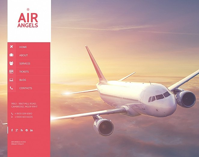 Airline Company Web Template with Vertically Oriented Menu Bar - image