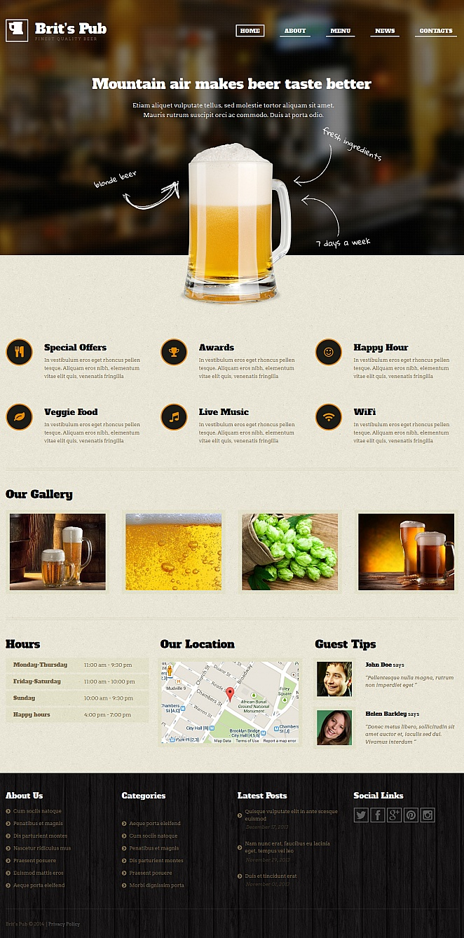 Pub Website Template with Wooden Footer Background - image