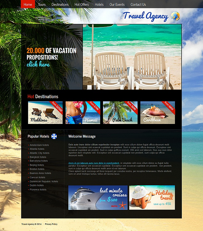 Website Template with Picturesque Background for Travel Agencies - image