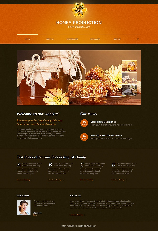 Honey Website Template with Animated jQuery Slider - image