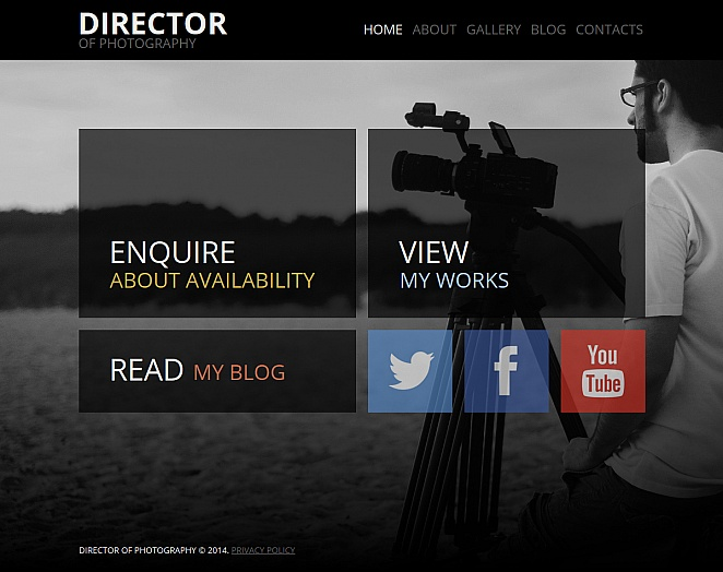 Photography Website Template with Two Navigation Menus - image