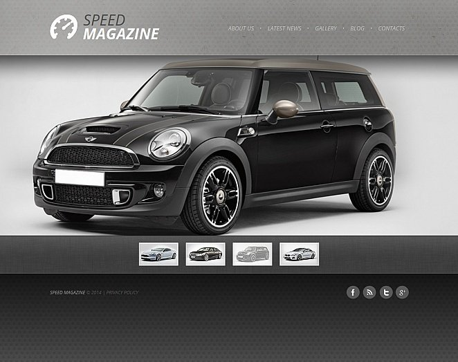 Gray Web Template for Car Magazines and Salons - image