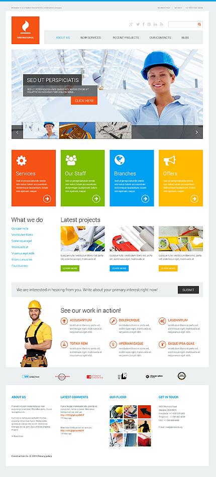 White Construction Company WordPress Theme by Cerberus ...